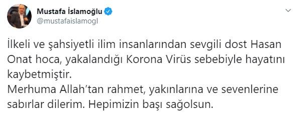 Prof. Hasan Onat Hoca vefat etti